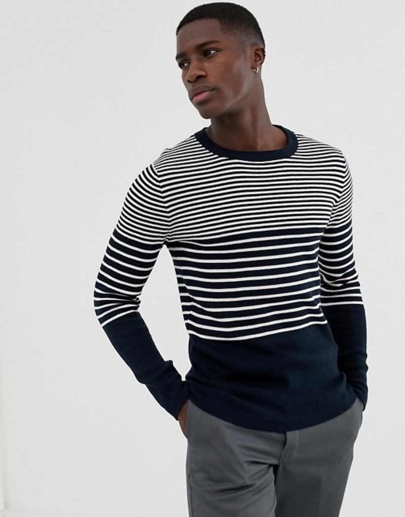 セレクテッドオム メンズ ニット・セーター アウター Selected Homme knitted stripe sweater Dark sapphire