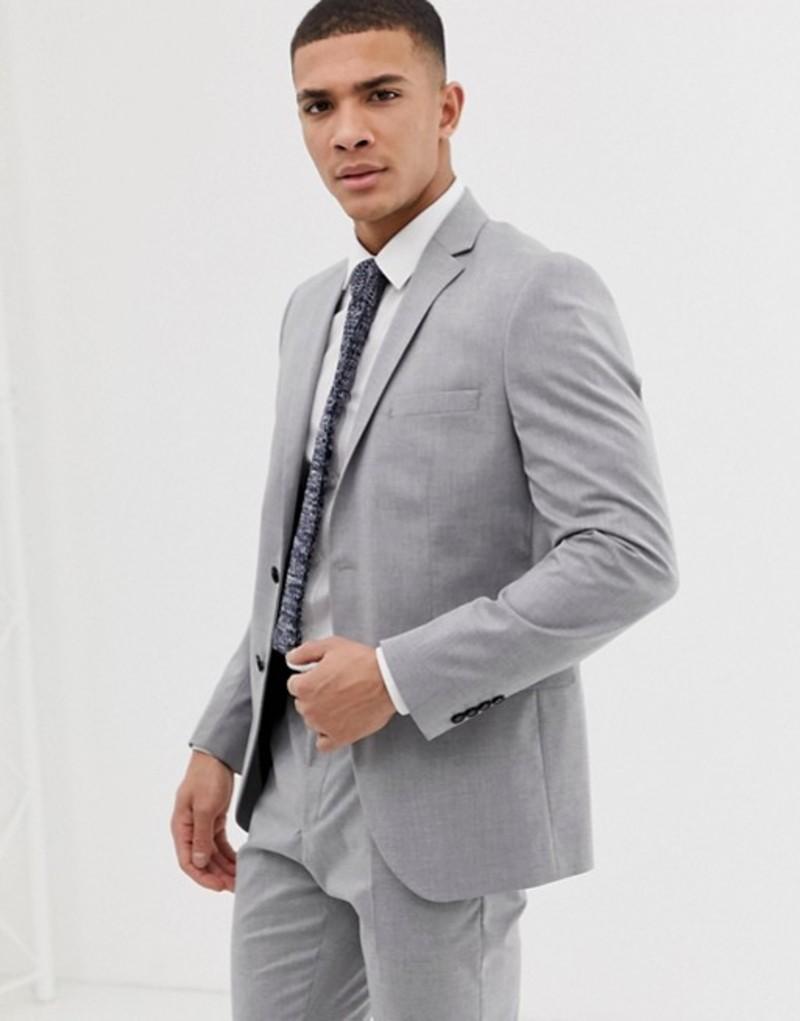 セレクテッドオム メンズ ジャケット・ブルゾン アウター Selected Homme slim suit jacket with stretch Light grey melange