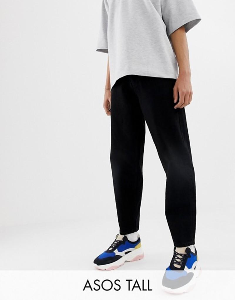 エイソス メンズ デニムパンツ ボトムス ASOS WHITE Tall tapered cropped jeans in 14 oz black denim Black