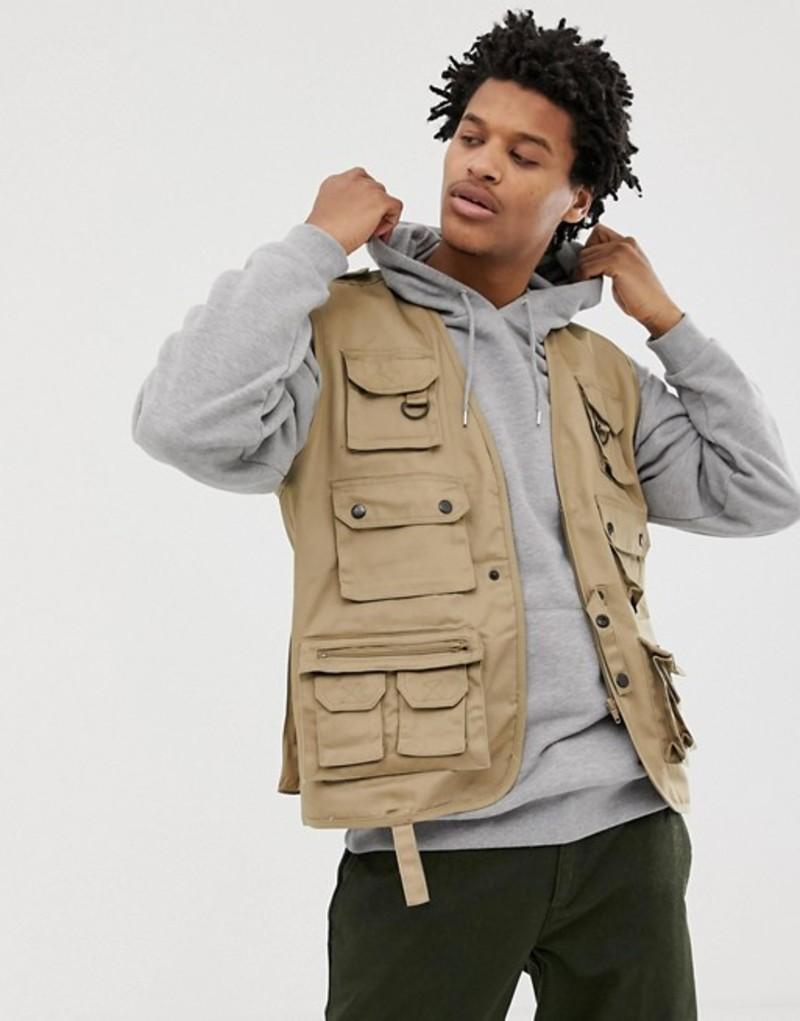 リクレイム ヴィンテージ メンズ タンクトップ トップス Reclaimed Vintage revived vest in stone Stone