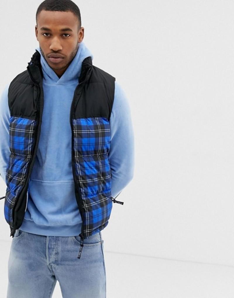 ベルシュカ メンズ タンクトップ トップス Bershka vest in blue check with fleece lined collar Blue
