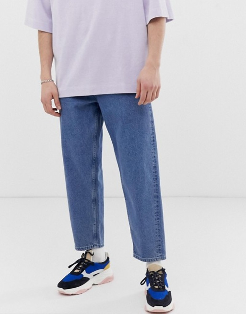 エイソス メンズ デニムパンツ ボトムス ASOS WHITE tapered jeans in 14 oz mid wash denim Mid wash blue