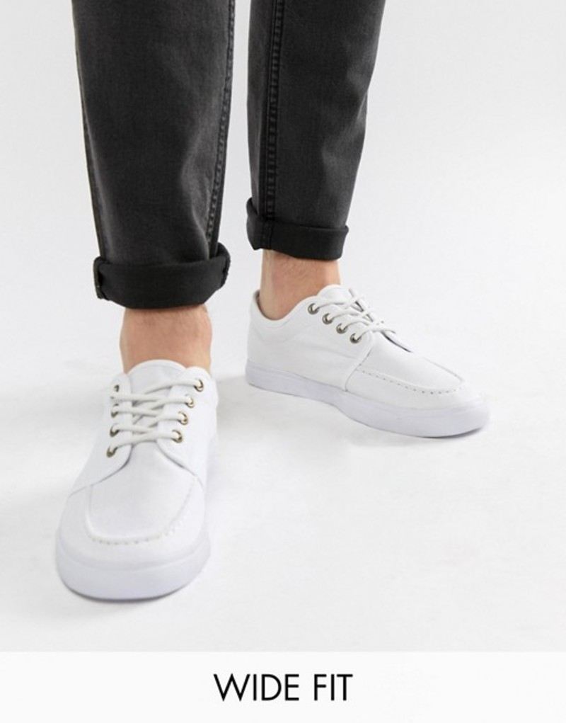 エイソス メンズ スニーカー シューズ ASOS DESIGN Wide Fit lace up plimsolls in white canvas White