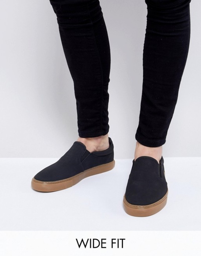 エイソス メンズ スニーカー シューズ ASOS DESIGN Wide Fit slip on plimsolls in black with gum sole Black