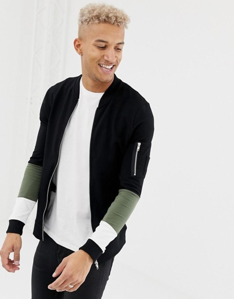 エイソス メンズ ジャケット・ブルゾン アウター ASOS DESIGN muscle jersey bomber jacket with MA1 pocket and color blocking Black