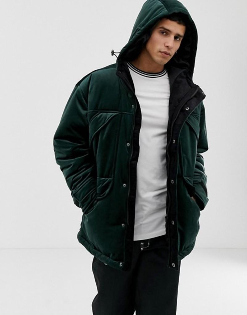 エイソス メンズ ジャケット・ブルゾン アウター ASOS DESIGN parka jacket in velour Green