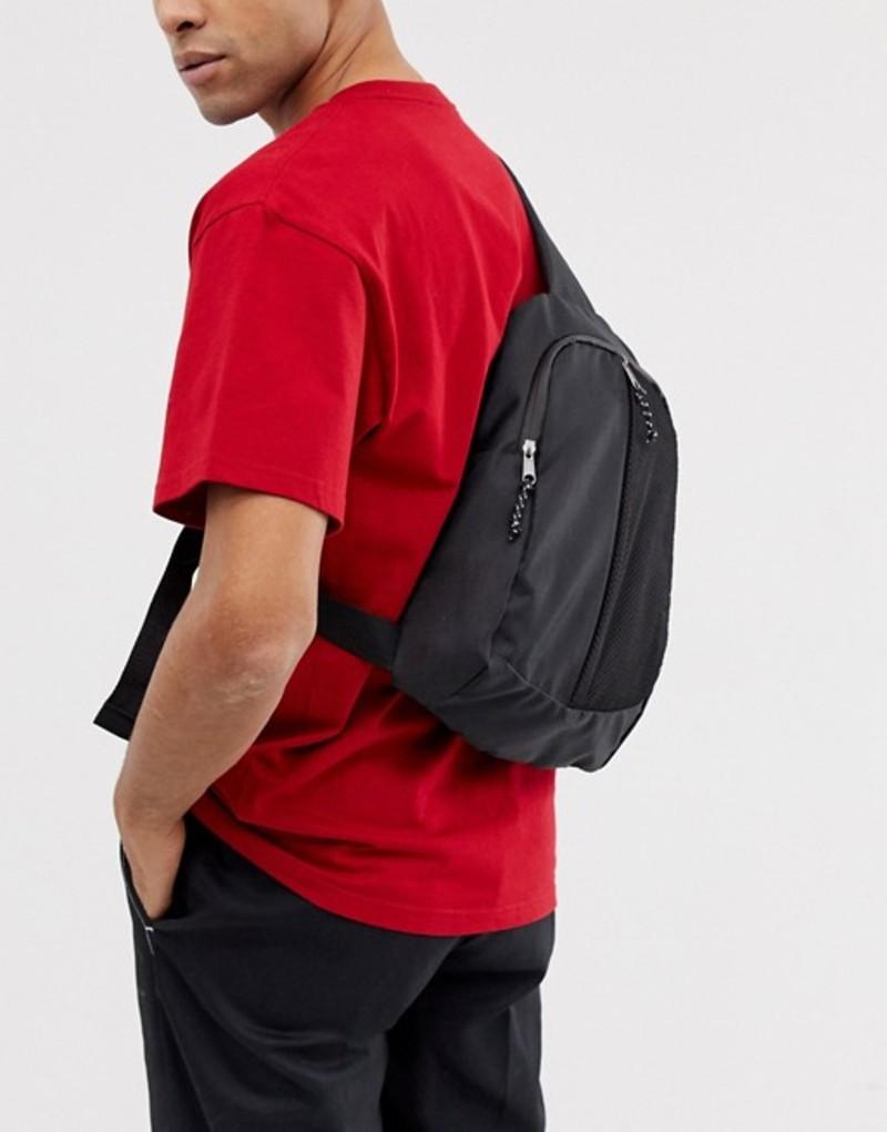 エイソス メンズ バックパック・リュックサック バッグ ASOS DESIGN cross body backpack in black with front mesh pocket Black