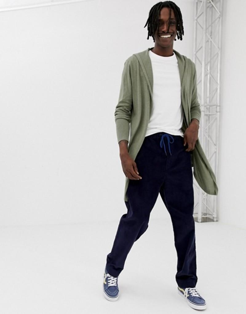 エイソス カーディガン ASOS DESIGN hooded open front cardigan with curved hem in khaki Khaki メンズ アウター