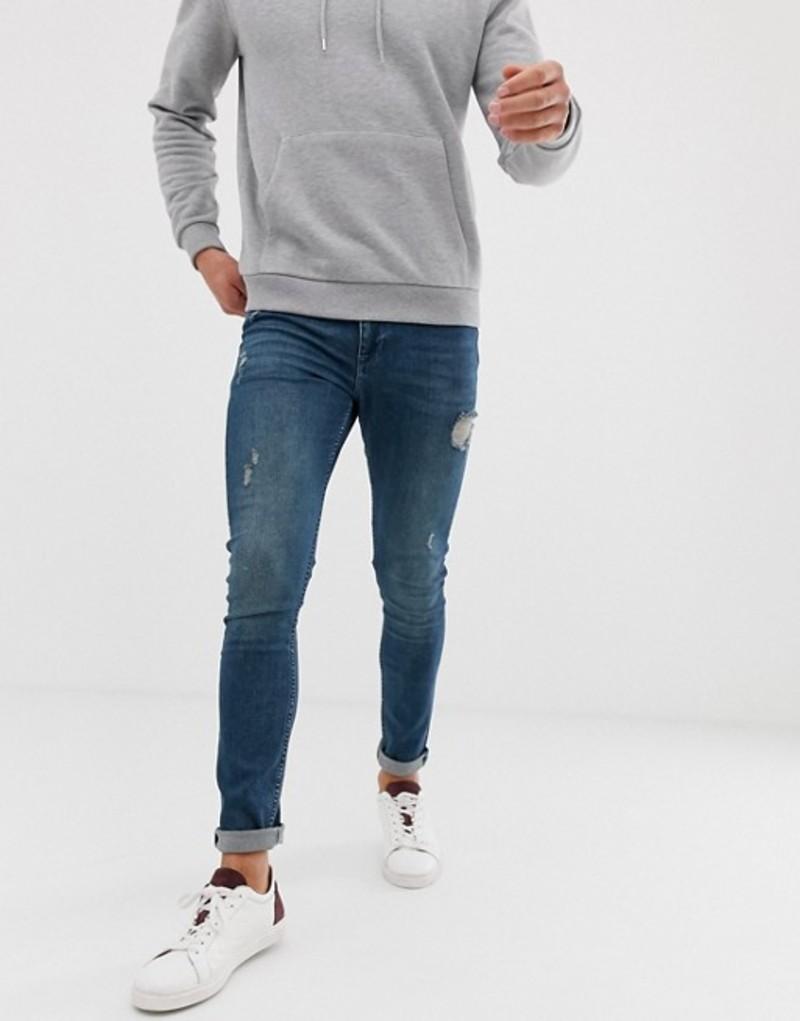 エイソス メンズ デニムパンツ ボトムス ASOS DESIGN super skinny jeans in green cast with abrasions Dark wash blue