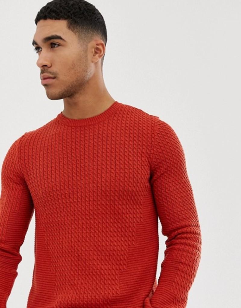 エイソス メンズ ニット・セーター アウター ASOS DESIGN muscle fit lightweight cable sweater in burnt orange Orange