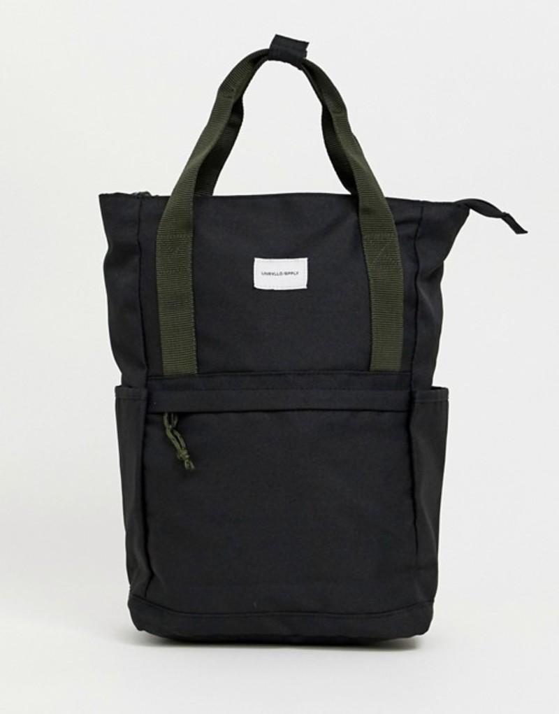 エイソス メンズ バックパック・リュックサック バッグ ASOS DESIGN backpack in black with green straps Black
