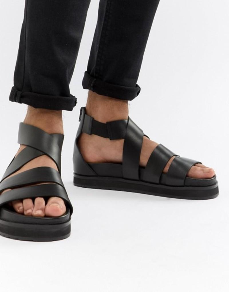 エイソス メンズ サンダル シューズ ASOS DESIGN gladiator sandals in black leather with chunky sole Black