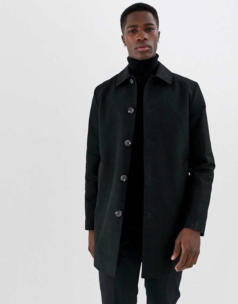 エイソス メンズ コート アウター ASOS DESIGN shower resistant single breasted trench in black Black