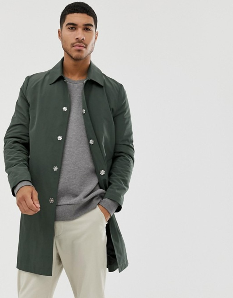 エイソス メンズ コート アウター ASOS DESIGN shower resistant trench coat in green Green