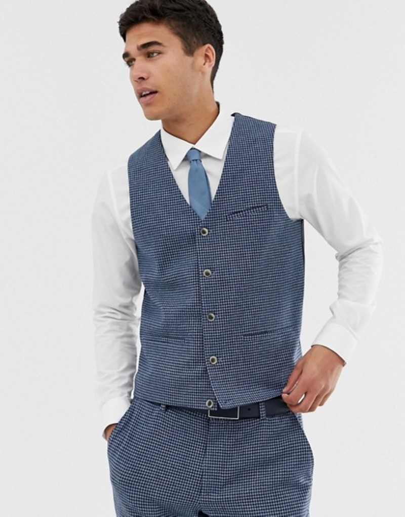 エイソス メンズ タンクトップ トップス ASOS DESIGN super skinny suit vest with blue houndstooth Blue