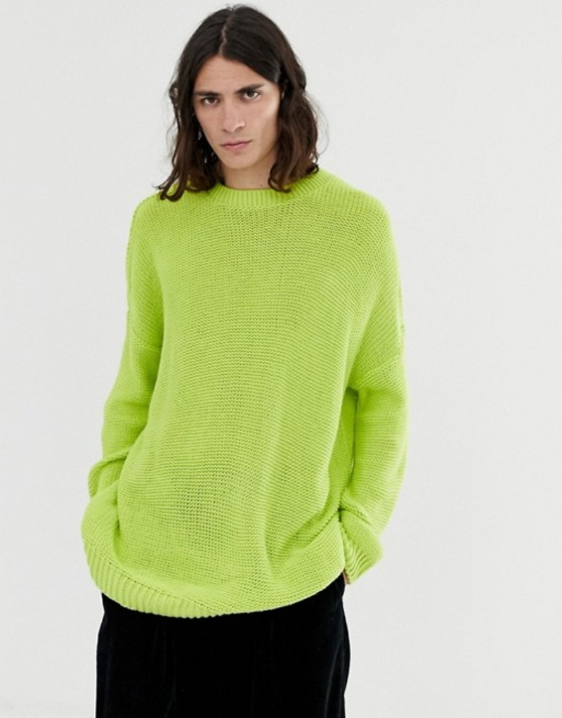 エイソス メンズ ニット・セーター アウター ASOS DESIGN oversized textured knit sweater in lime green Green
