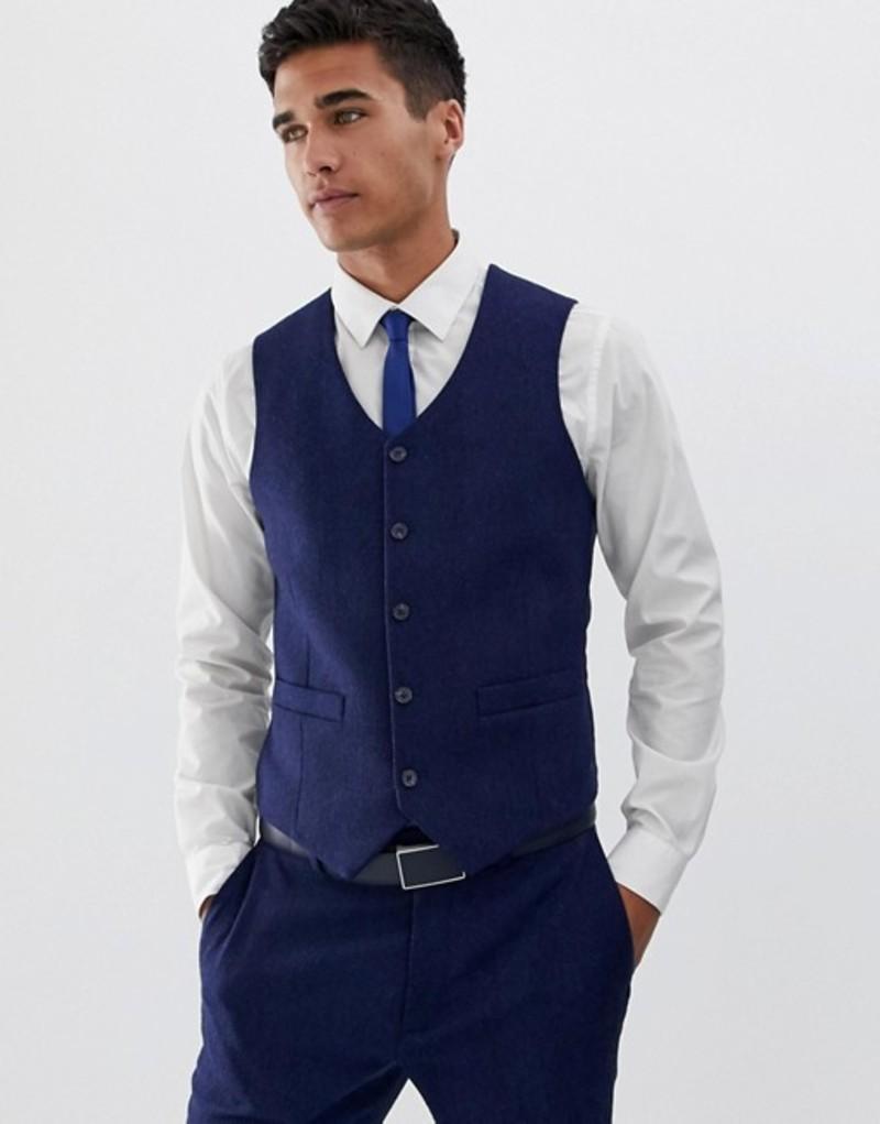 エイソス メンズ タンクトップ トップス ASOS DESIGN wedding skinny suit vest in blue wool blend herringbone Blue