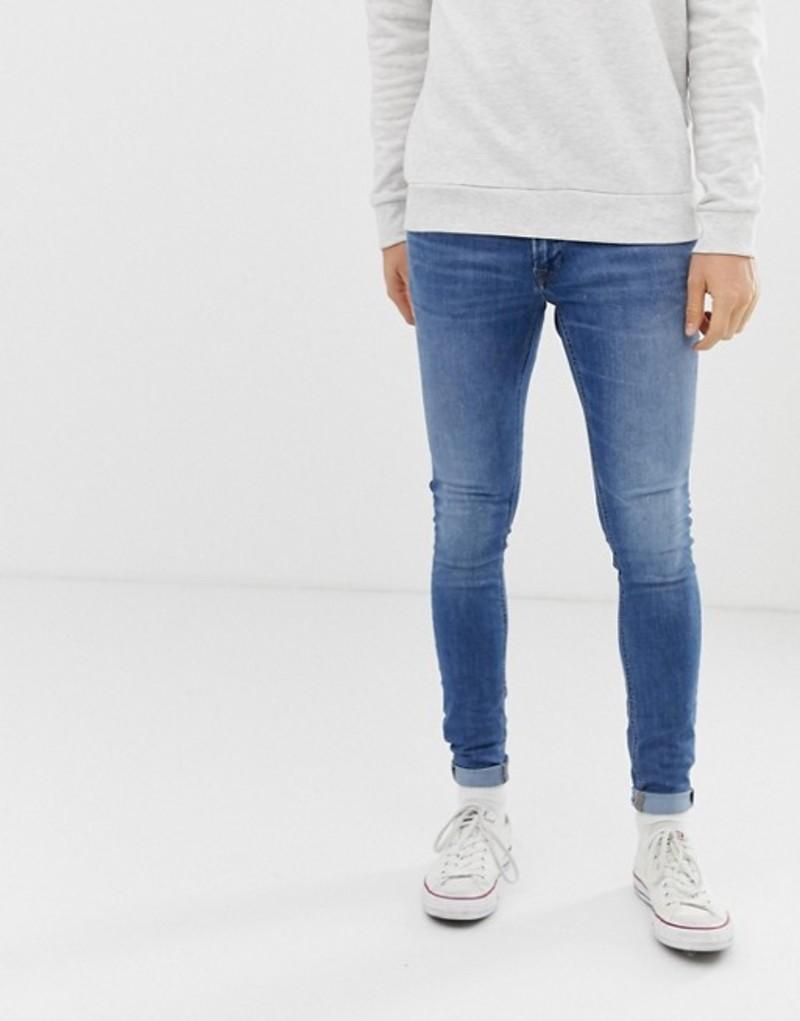 ジャック アンド ジョーンズ メンズ デニムパンツ ボトムス Jack & Jones spray on skinny fit jeans in blue Blue denim