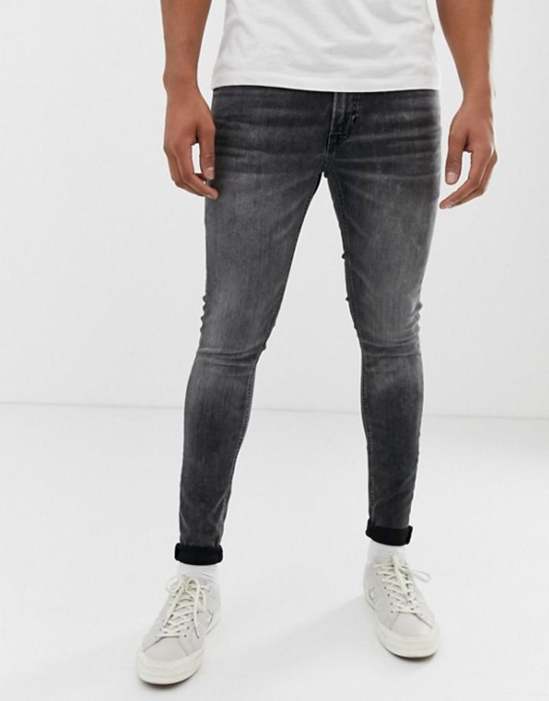 ジャック アンド ジョーンズ メンズ デニムパンツ ボトムス Jack & Jones skinny fit jeans in washed black Black denim