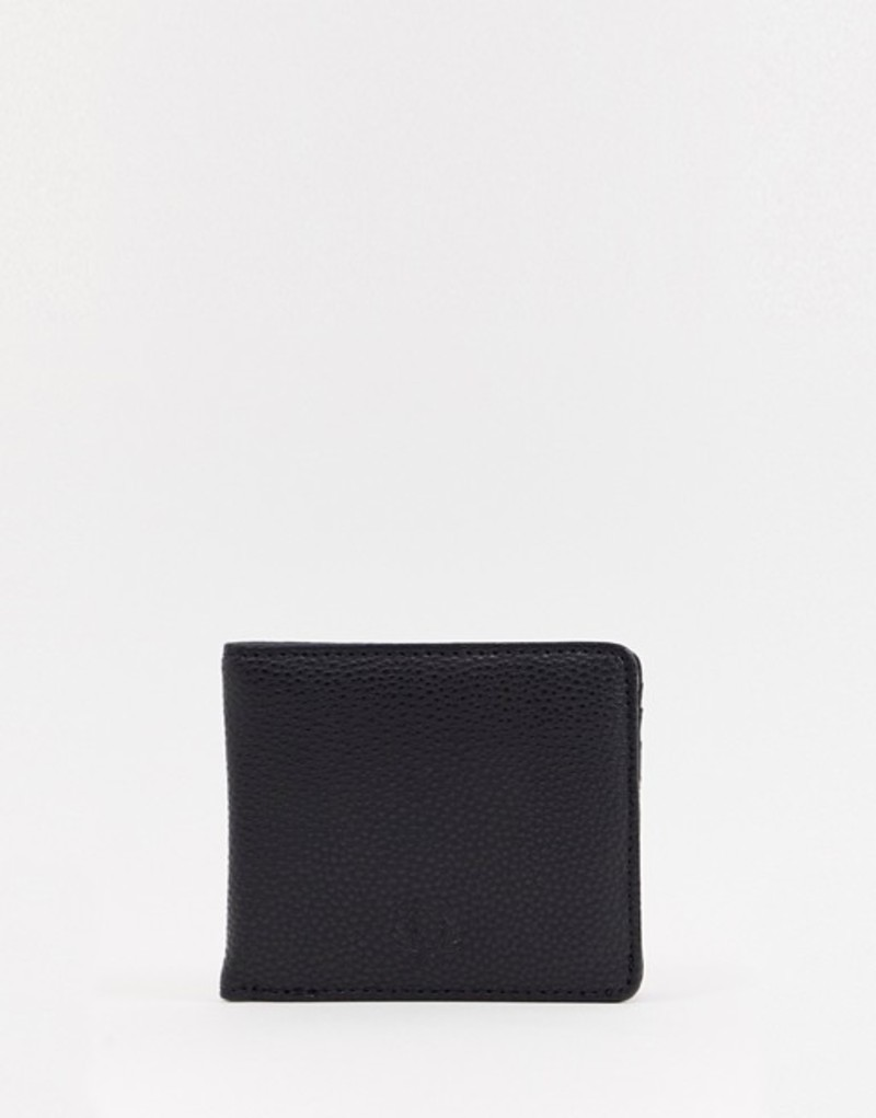 フレッドペリー メンズ 財布 アクセサリー Fred Perry Tumbled pu billfold wallet in black Black