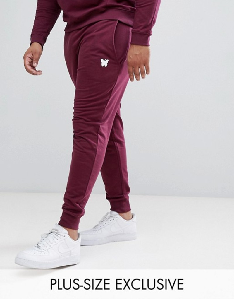 グッドフォーナッシング メンズ カジュアルパンツ ボトムス Good For Nothing Skinny Sweatpants In Burgundy with Small Logo Exclusive to ASOS Red