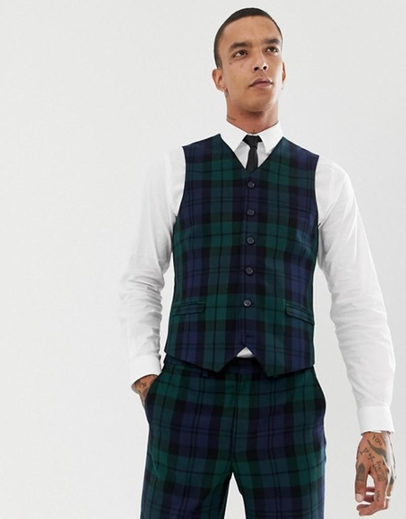 ハートアンドダガー メンズ タンクトップ トップス Heart & Dagger slim suit vest in blackwatch check Green