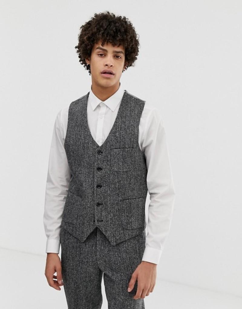 ノーク メンズ タンクトップ トップス Noak slim fit harris tweed vest in gray Grey