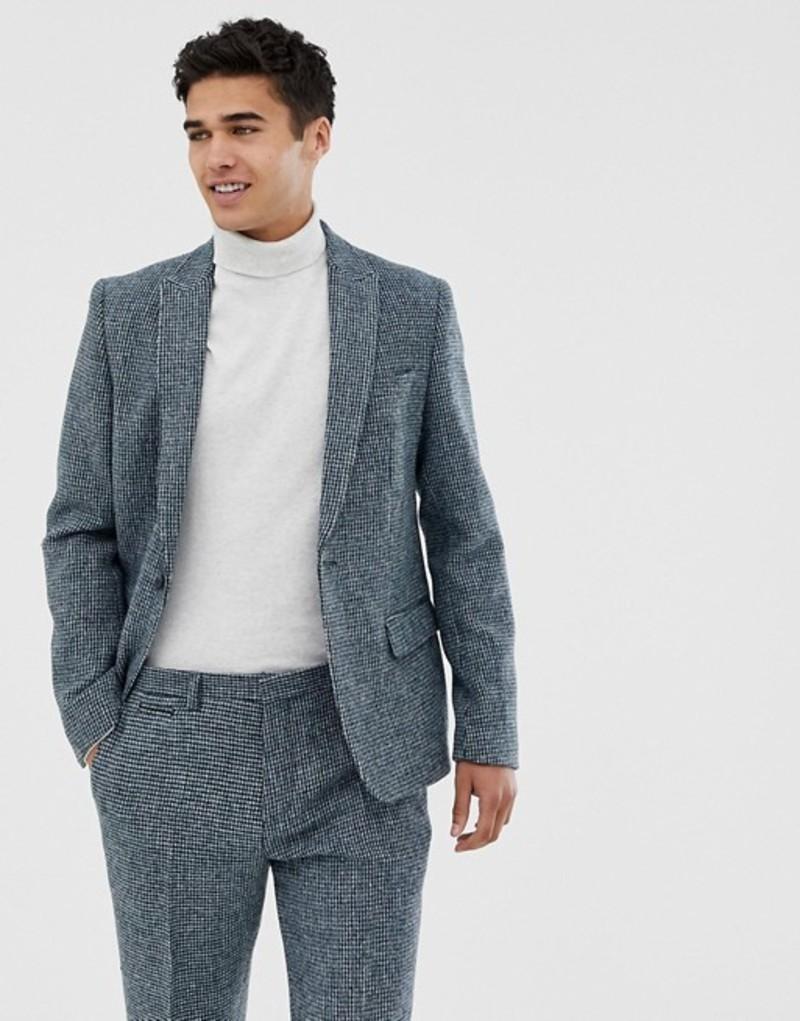 ノーク メンズ ジャケット・ブルゾン アウター Noak slim fit harris tweed suit jacket in blue Blue