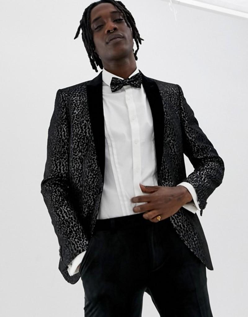ハートアンドダガー メンズ ジャケット・ブルゾン アウター Heart & Dagger skinny fit blazer in black leopard print Black