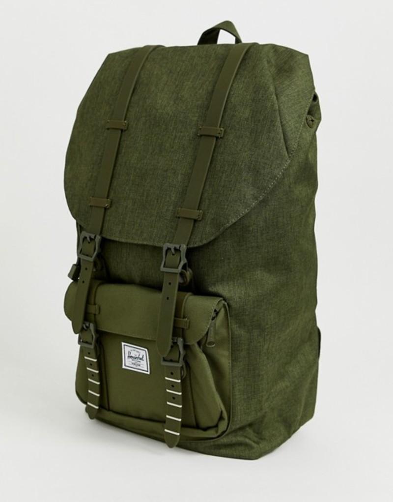 ハーシャル メンズ バックパック・リュックサック バッグ Herschel Supply Co Little America 25l backpack in crosshatch khaki Green