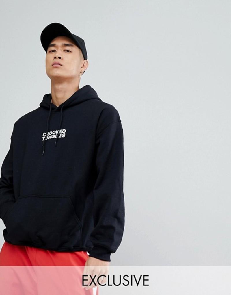 クルックドタン メンズ パーカー・スウェット アウター Crooked Tongues hoodie with logo print in black Black