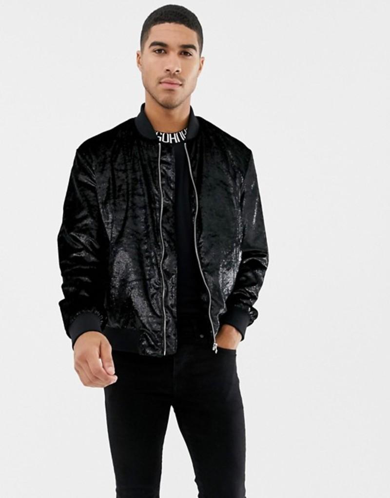 フューゴ メンズ ジャケット・ブルゾン アウター HUGO Bestino glitter bomber jacket in black Black