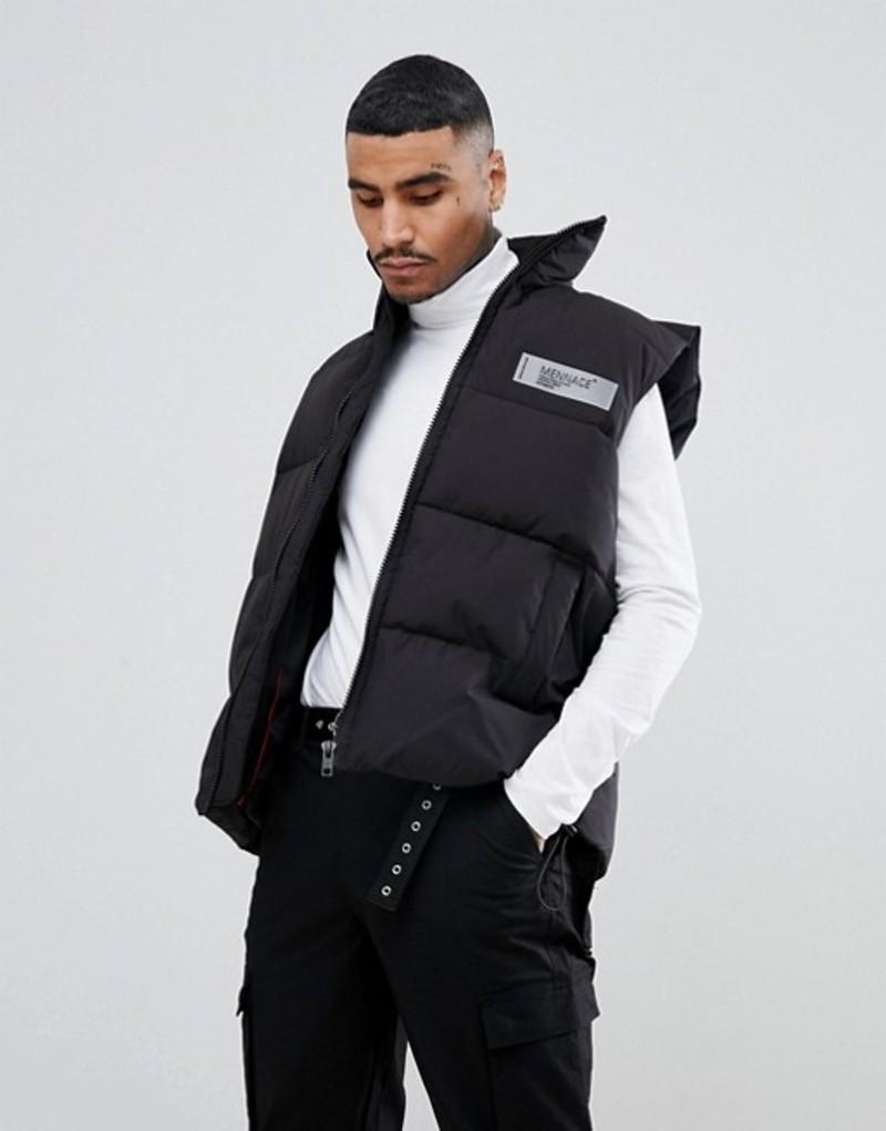メニス メンズ タンクトップ トップス Mennace vest in black with back logo Black