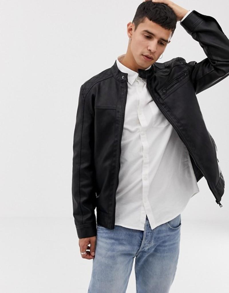 オンリーアンドサンズ メンズ ジャケット・ブルゾン アウター Only & Sons faux leather racer jacket Black
