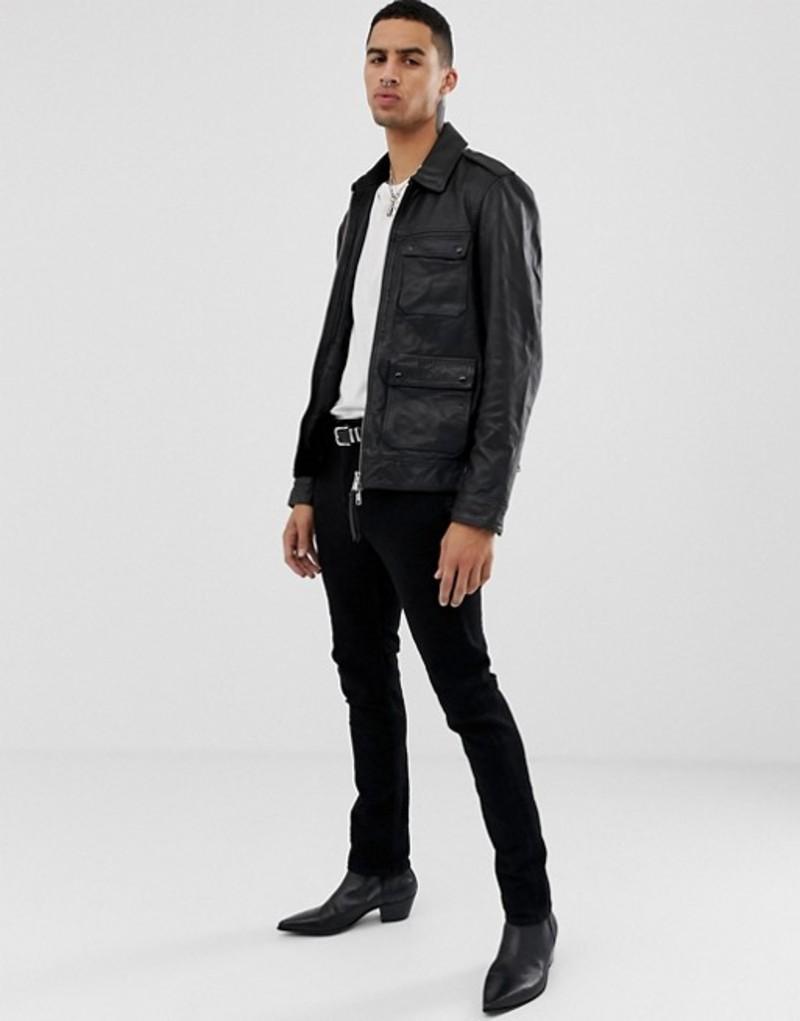 オールセインツ メンズ ジャケット・ブルゾン アウター AllSaints Leather Jacket In Black With Pockets Black