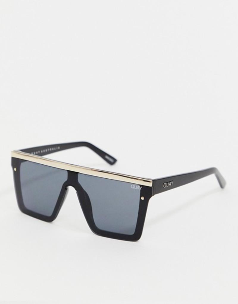 クアイオーストラリア メンズ サングラス・アイウェア アクセサリー Quay Australia Hindsight flatbrow sunglasses in black & gold Black