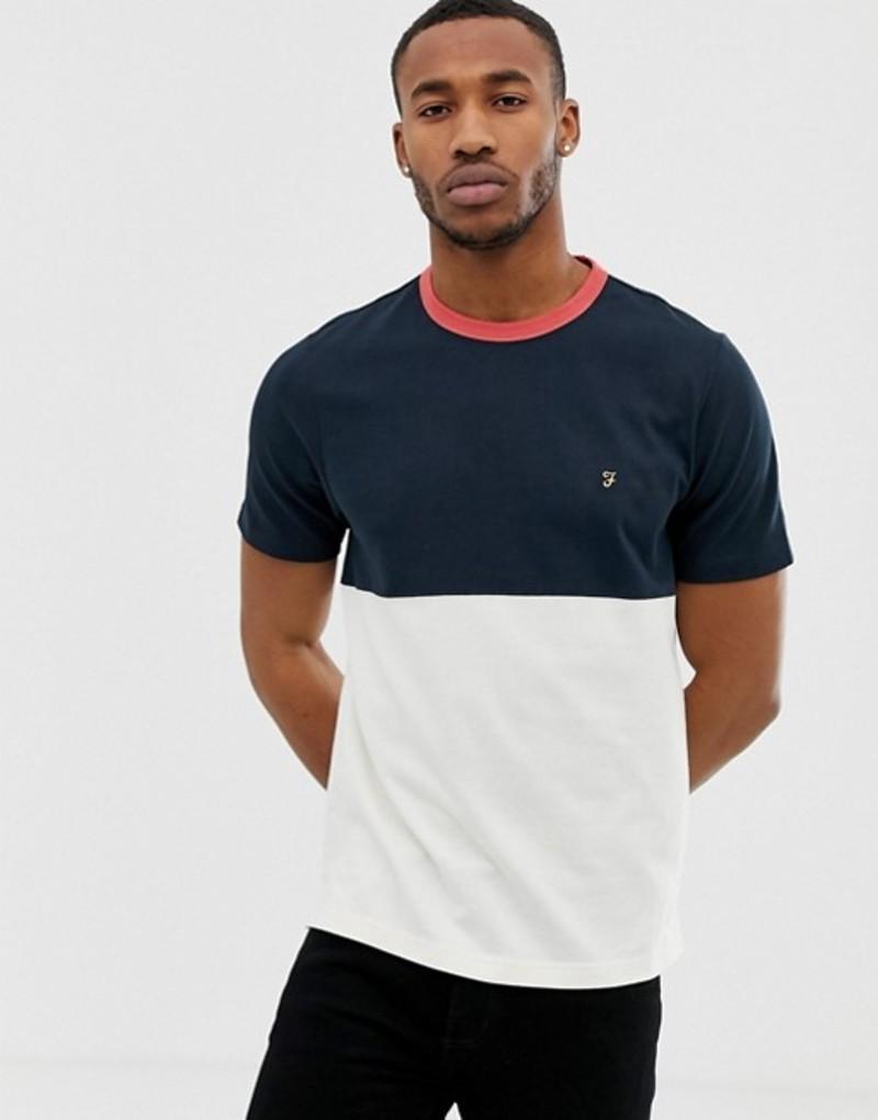 ファーラー メンズ Tシャツ トップス Farah Ewood color panel t-shirt in navy Navy
