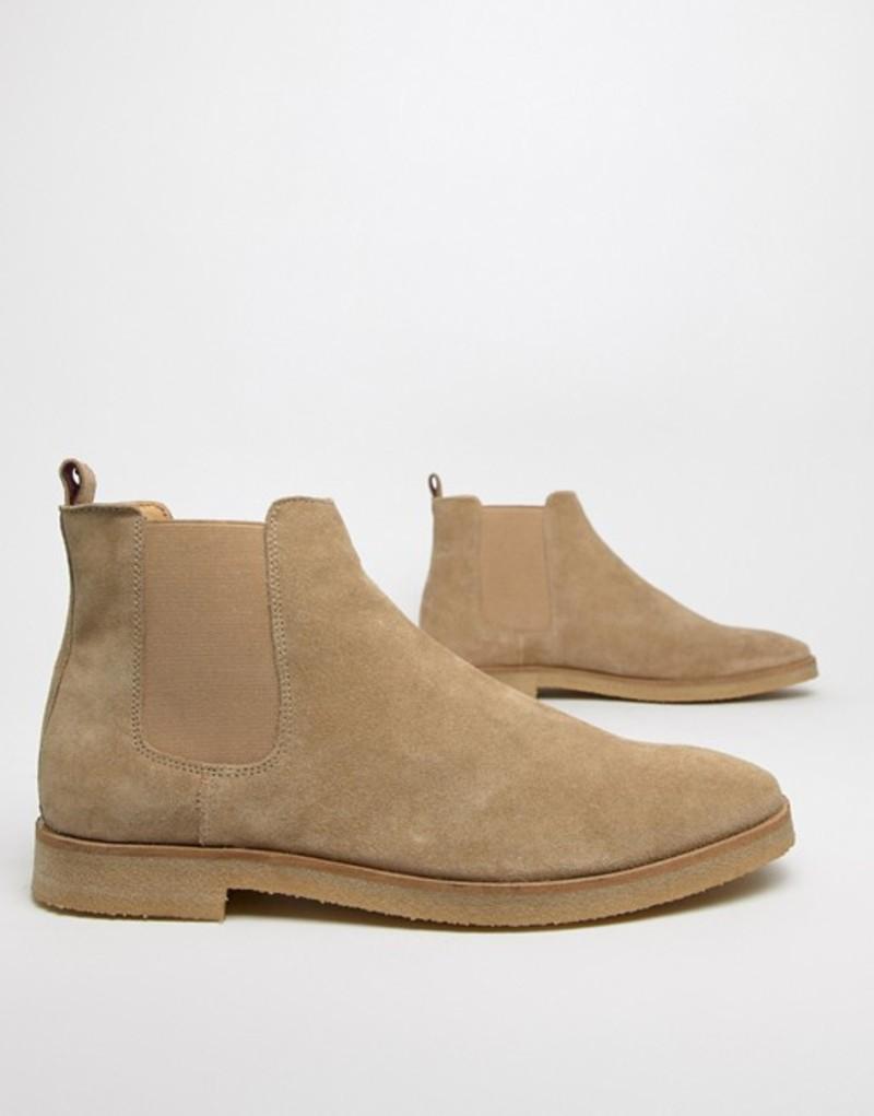 ウォークロンドン メンズ ブーツ・レインブーツ シューズ WALK London Hornchurch chelsea boots in stone suede Brown