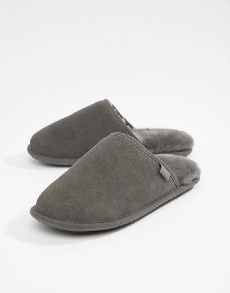 ジャスト・シープスキン メンズ サンダル シューズ Just Sheepskin Suede Slip On Slippers Grey