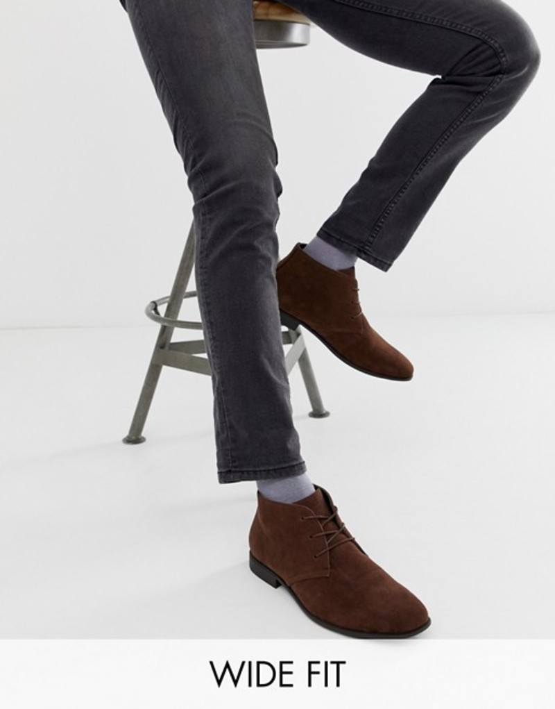 エイソス メンズ ブーツ・レインブーツ シューズ ASOS DESIGN Wide Fit Chukka Boots In Brown Faux Suede Brown
