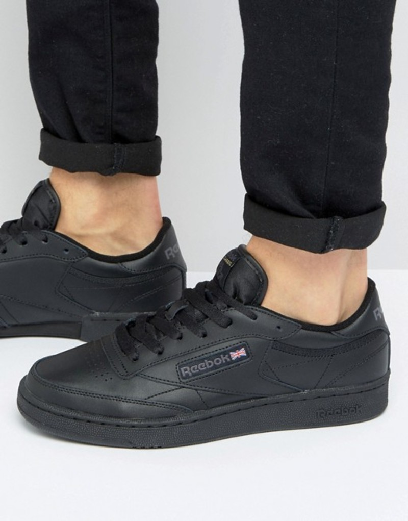リーボック メンズ スニーカー シューズ Reebok Club C Leather Sneakers in black Black