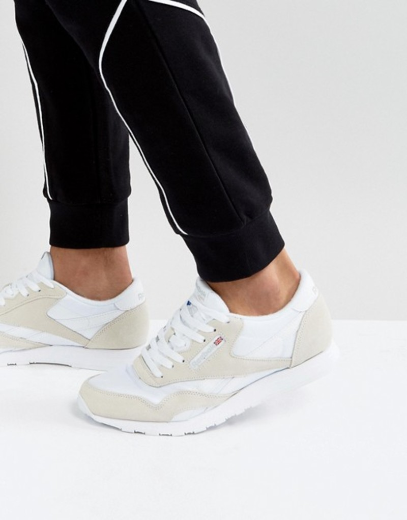 リーボック メンズ スニーカー シューズ Reebok Classic Leather Nylon Sneakers in white White