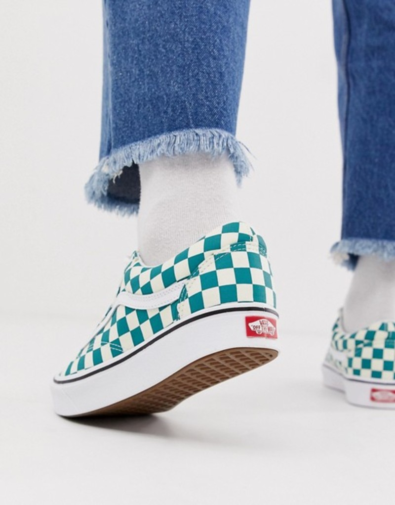 バンズ メンズ スニーカー シューズ Vans Old Skool checkerboard sneakers in green Green