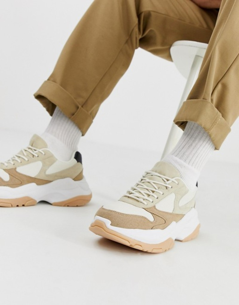 エイソス メンズ スニーカー シューズ ASOS DESIGN sneakers in stone and gum with chunky sole Stone