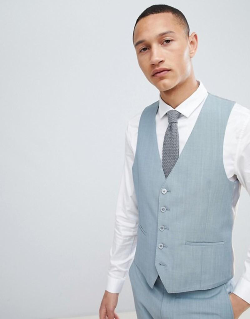 モス ブラザーズ メンズ タンクトップ トップス Moss London skinny wedding vest Sage