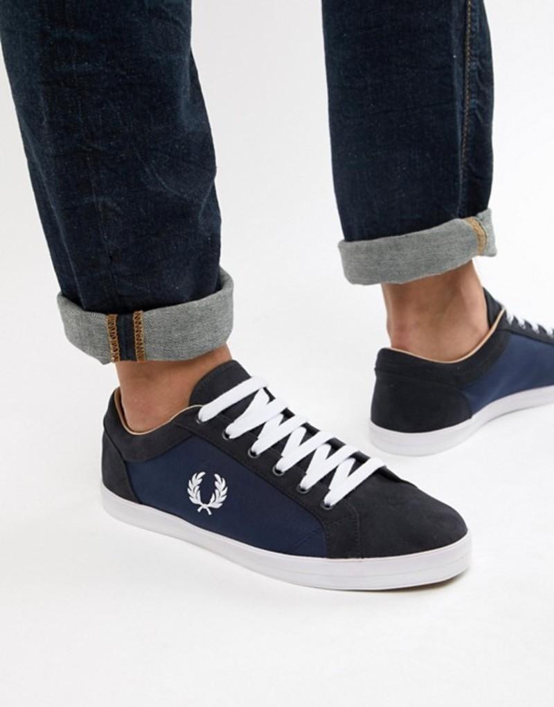フレッドペリー メンズ スニーカー シューズ Fred Perry Baseline nylon mix sneakers in navy Navy