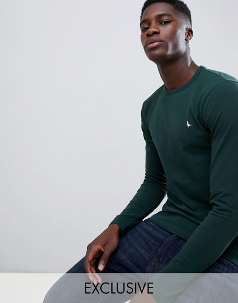 ジャック ウィルス メンズ Tシャツ トップス Jack Wills Jameson muscle fit long sleeve t-shirt in dark green Exclusive at ASOS Dark green