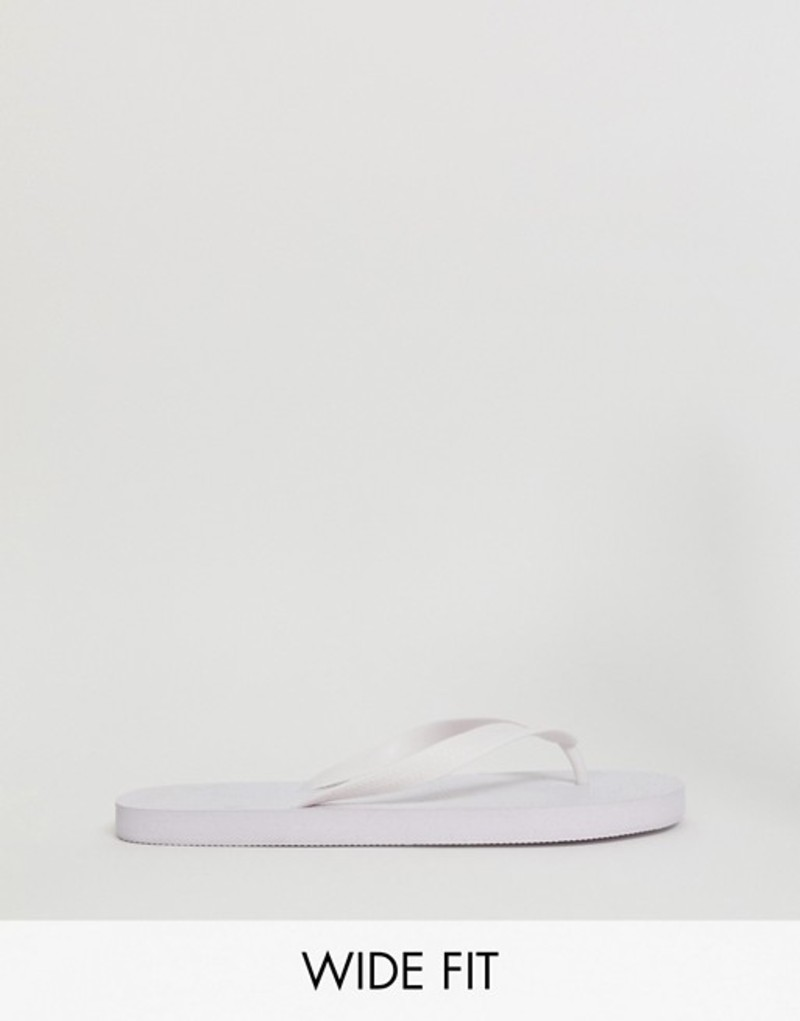 エイソス メンズ サンダル シューズ ASOS DESIGN Wide Fit flip flops in white White