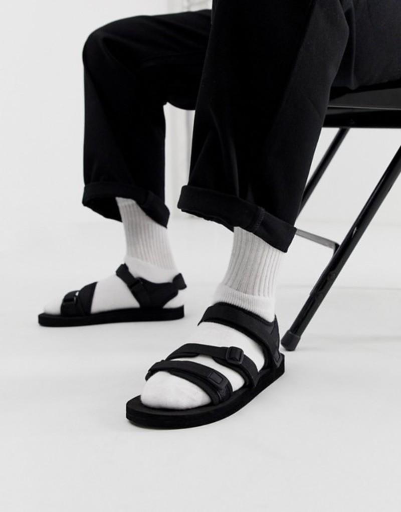 エイソス メンズ サンダル シューズ ASOS DESIGN tech sandals in black with tape straps Black