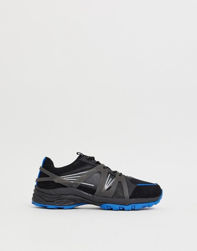 エイソス メンズ スニーカー シューズ ASOS DESIGN dad sneakers in black mesh with blue color flash chunky sole Blue